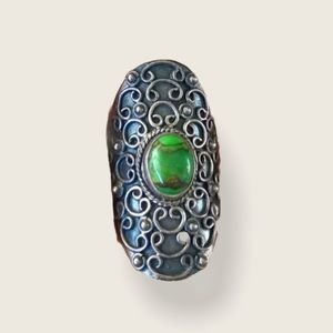 Sterling Silver Green Turquoise Shield Ring